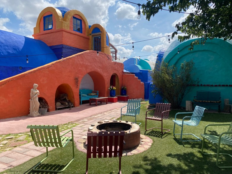 Eve's Garden Organic Bed & Breakfast in Marathon is constructed in papercrete to form eccentric domes and arches.