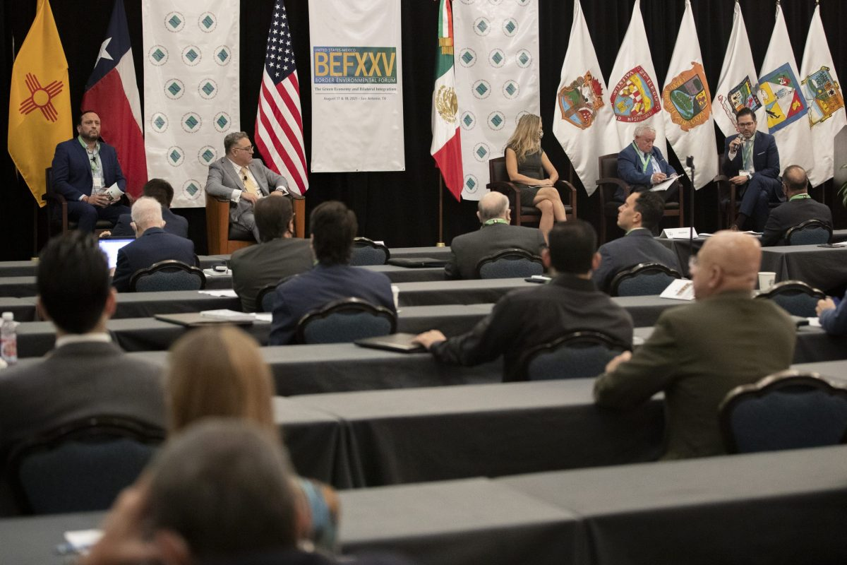 A panel discussing the green economy and bilateral integration takes place at the Westin Riverwalk during the Border Environmental Forum on Tuesday August 17, 2021.