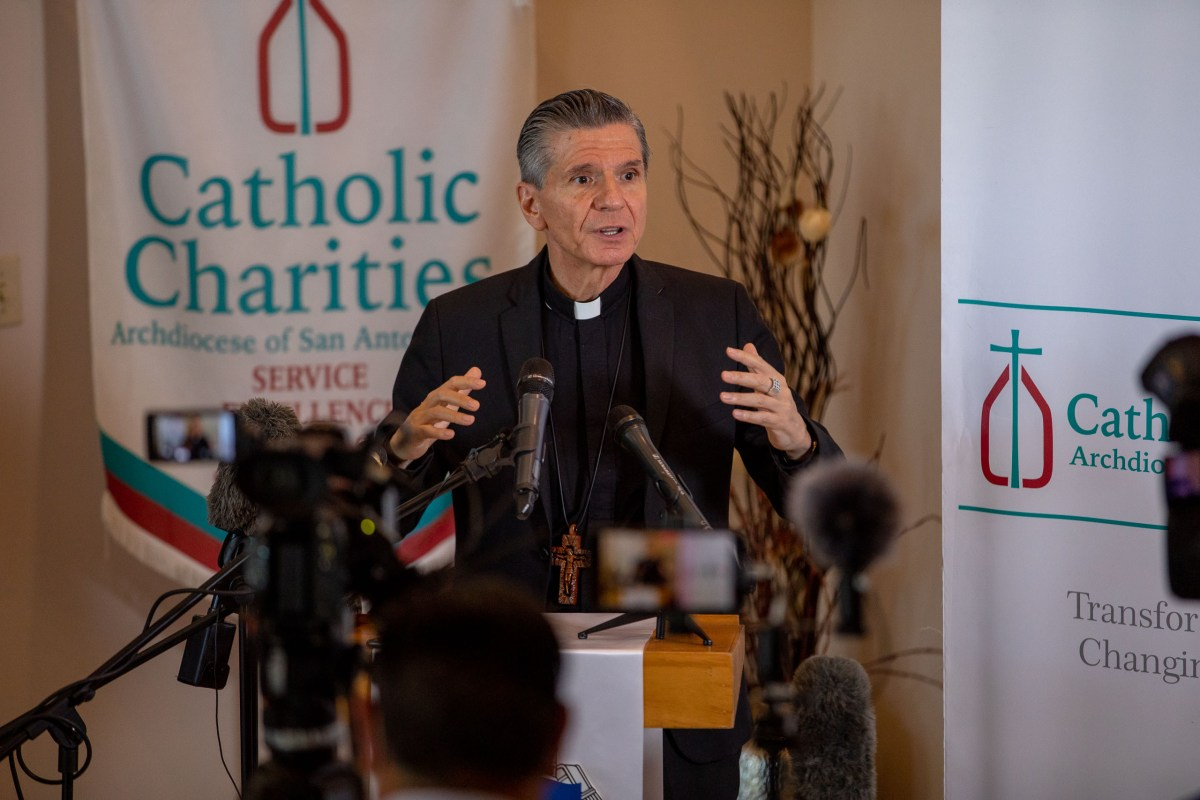 Archbishop Gustavo Garcia-Siller addresses the media with the announcement of Catholic Charities taking in 342 Afghan refugees following recent Taliban control and the end of a twenty year war with the United States.