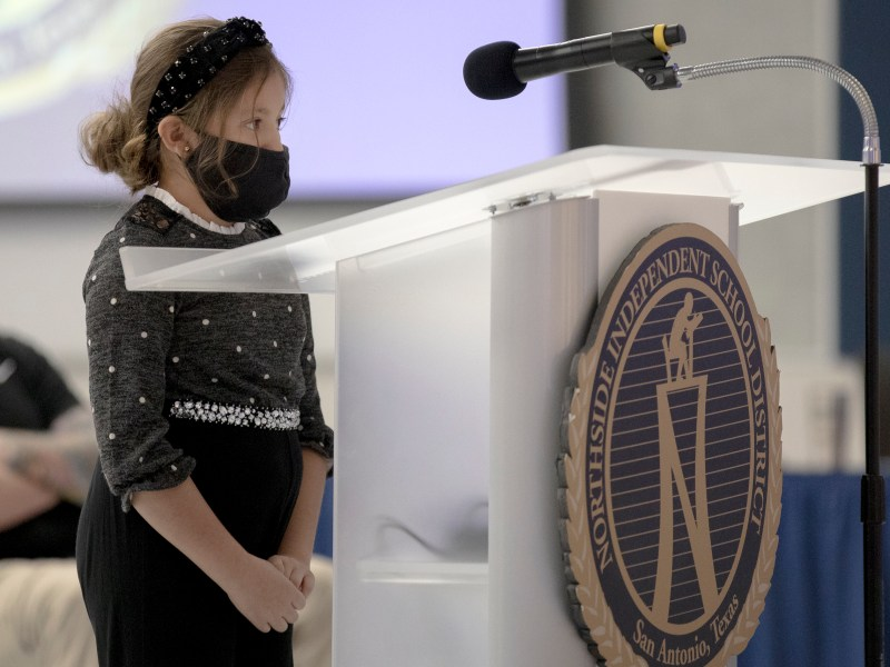 Jeanette Rodriguez, a student at a Northside ISD school, speaks in support of a mask mandate during a Northside school district board meeting on Tuesday.