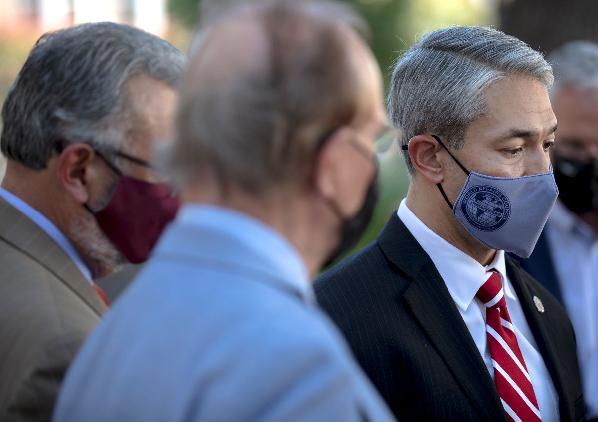 Mayor Ron Nirenberg speaks during a press conference announcing a temporary restraining order that allows city and county officials to mandate masks on Tuesday.