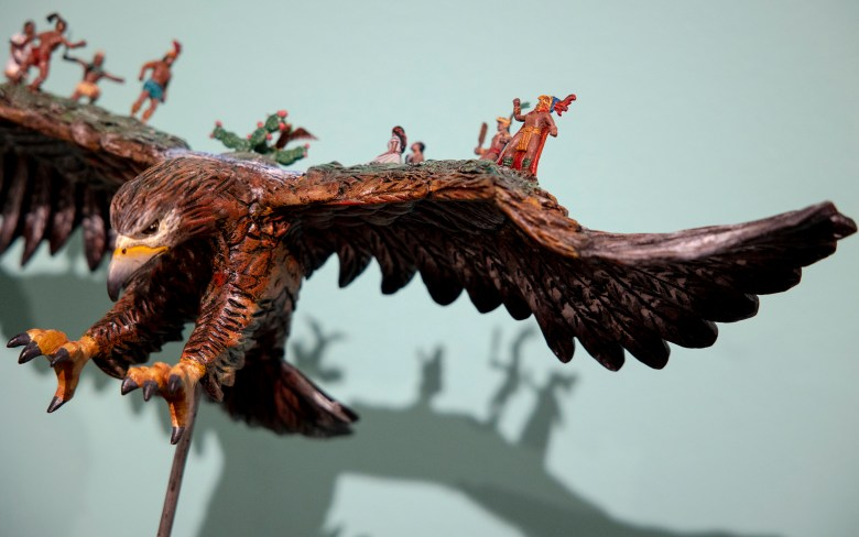 An alebrije named <i>Legend of a Town by Giovani Melchor Ramos</i> depicts an ancient Mexican tale at the Witte Museum's <i>Orale! The Magical Art of Oaxaca</i> exhibit on Friday.