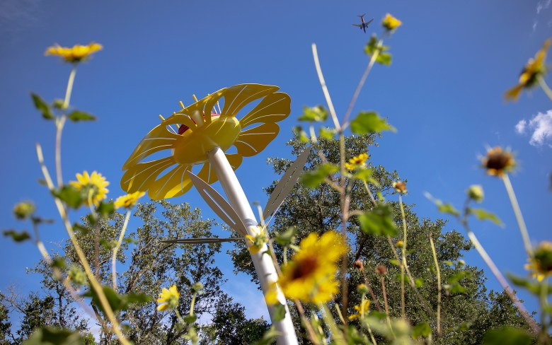 """San Antonio artist Leticia Huerta's newest """"Bloom"""" sculptures have sprouted at Eisenhower Park and resemble a red Cedar Sage, yellow Four Nerve Daisy, and sunny green Antelope Horn Milkweed."""