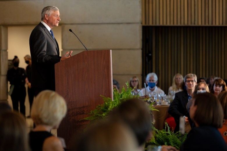 Jon Meacham, author and keynote speaker for the annual Planned Parenthood South Texas luncheon, addresses the audience at the San Antonio Botanical Gardens.