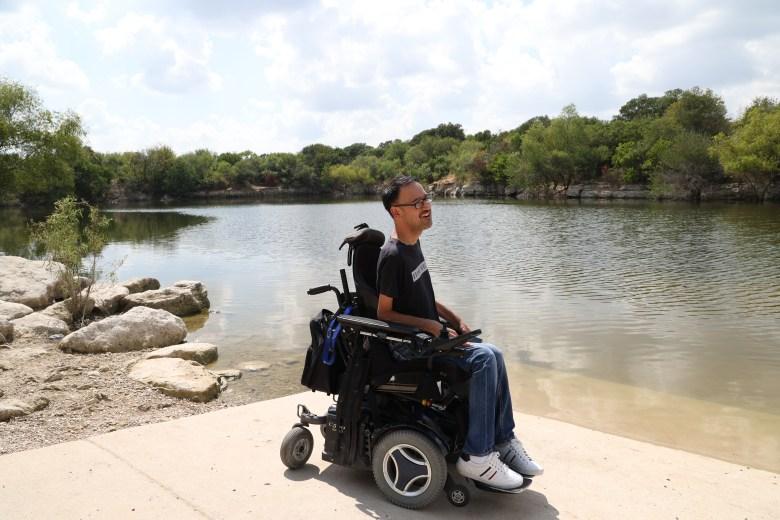 Hinojosa enjoys spending time at the quarry pond at Tom Slick Park.