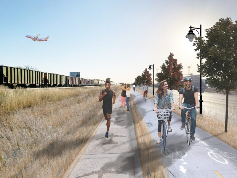 A rendering of the ideal active transportation project, fully shaded, lighted, and roadway separated with separated cycling and pedestrian paths, shown here along the Flyway Project on Wetmore Road.