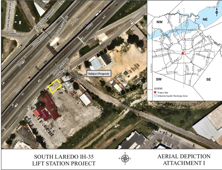 A rendering of the proposed sewage lift station site in the parking lot of Piedras Negras de Noche.