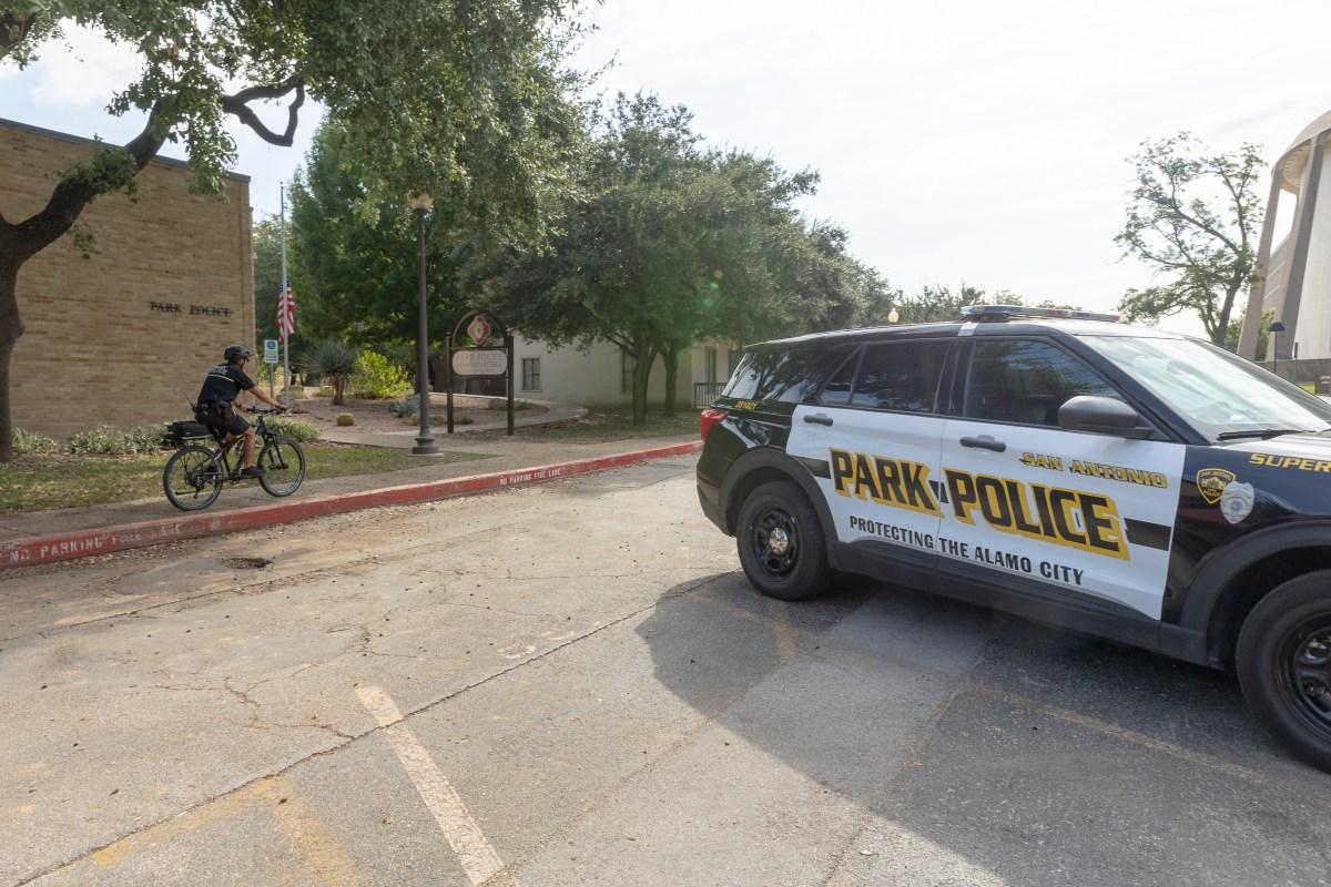 A bike patrol officer arrives to the San Antonio Park Police Headquarters at Hemisfair.