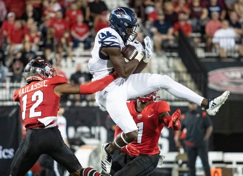 UTSA receiver De'Corian Clark catches a pass during UTSA's 52-46 win over WKU on Saturday, Oct. 9, 2021, at Houchens-Smith Stadium.