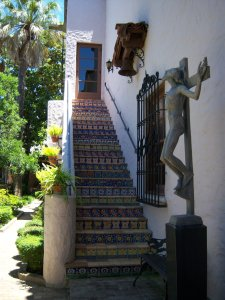 Photo of a tiled stairway in the McNay Art Museum Courtyard.