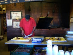Photo of brisket being sliced.