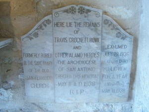 Photo of names of Alamo heroes buried at San Fernando.