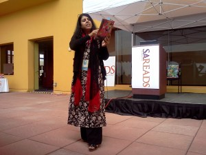 "Photo of Chitra Divakaruni performing her children's book, ""Grandma and the Great Gourd,"" at the San Antonio Book Festival in 2013."