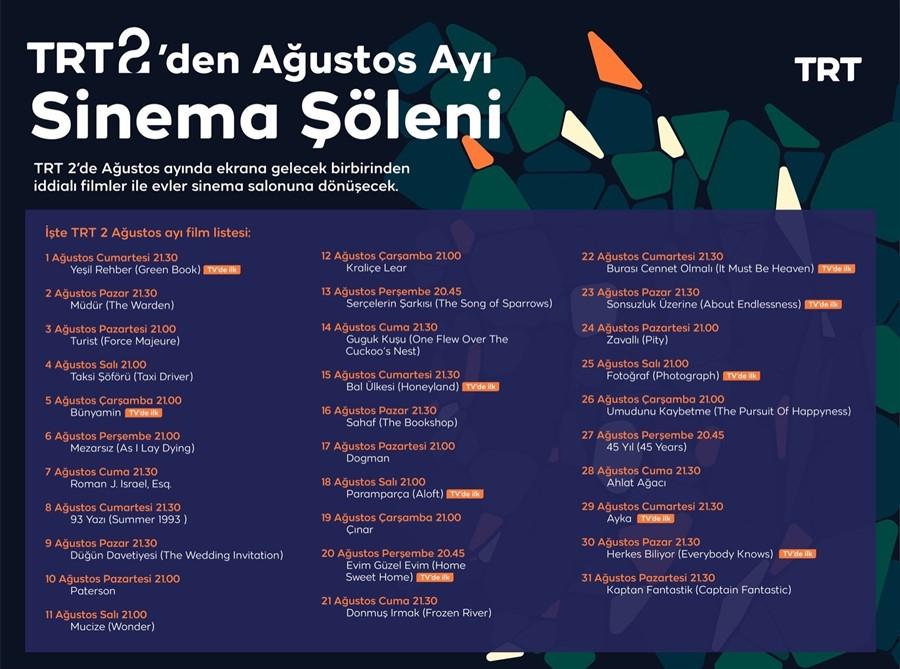 TRT 2'de Ağustos'da Her Akşam Farklı Film