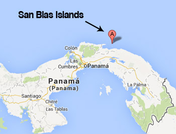 San Blas Islands location world map