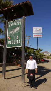 Emilio gave up commercial fishing Now in school & waiting tables @ La Vaquita