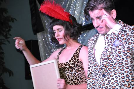 """Scott Walsh attempts to read Kelsa Dine's thoughts in their new mentalism act, """"The Deans."""""""