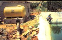 Primeras aplicaciones en fertirrigacion, Sr. Sarria, midiendo el caudal de salida de liquido con reloj y probeta en ristre.