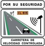 Señal de velocidad controlada y líneas verdes