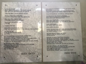 Plaque with a quotation from Green's diary