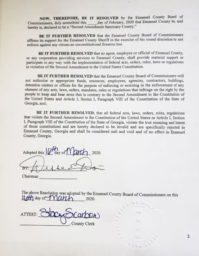 Emanuel County Georgia Second Amendment Sanctuary County Resolution 2