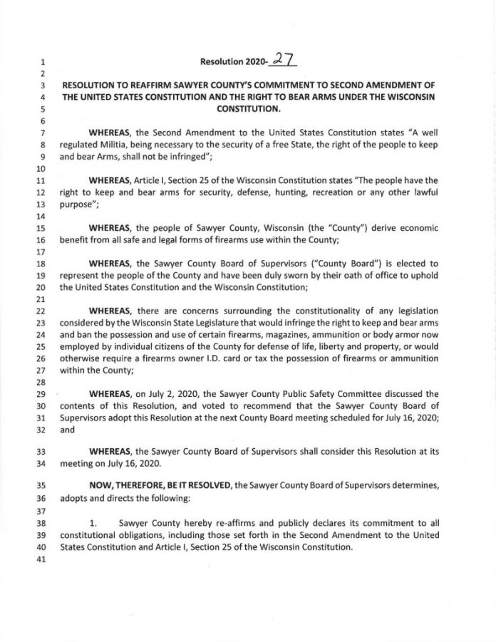 Sawyer County, Wisconsin Second Amendment Reaffirmation Resolution 2020-27