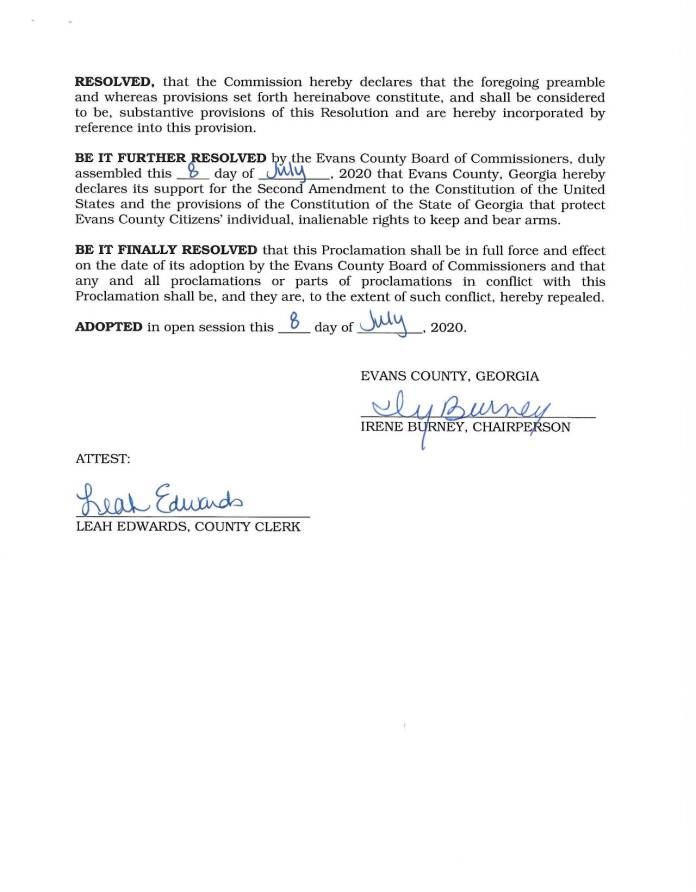 2020-01 Evans County resolution in support of the Second Amendment to the US Constitution.