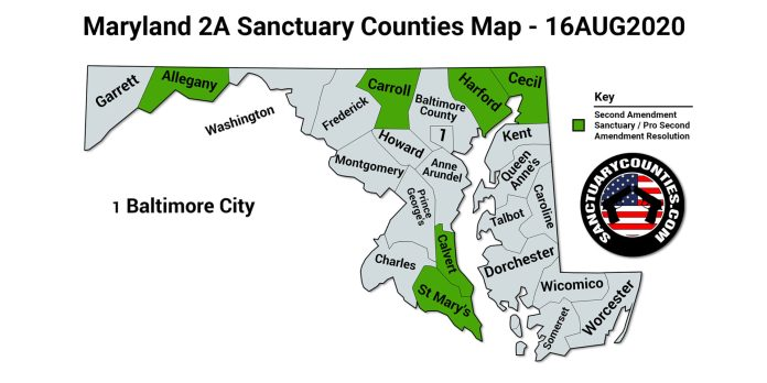 Maryland 2A Sanctuary Counties Map