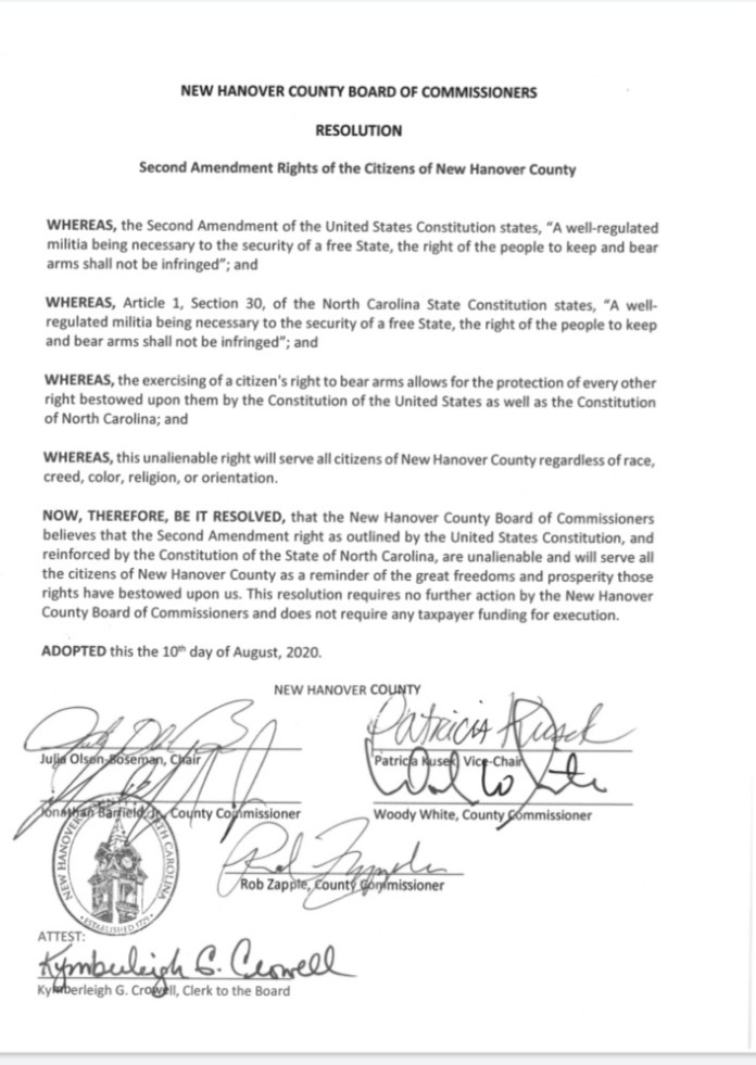 New Hanover County Board of Commissioners pass a resolution in support of Second Amendment Rights of the Citizens of New Hanover County.