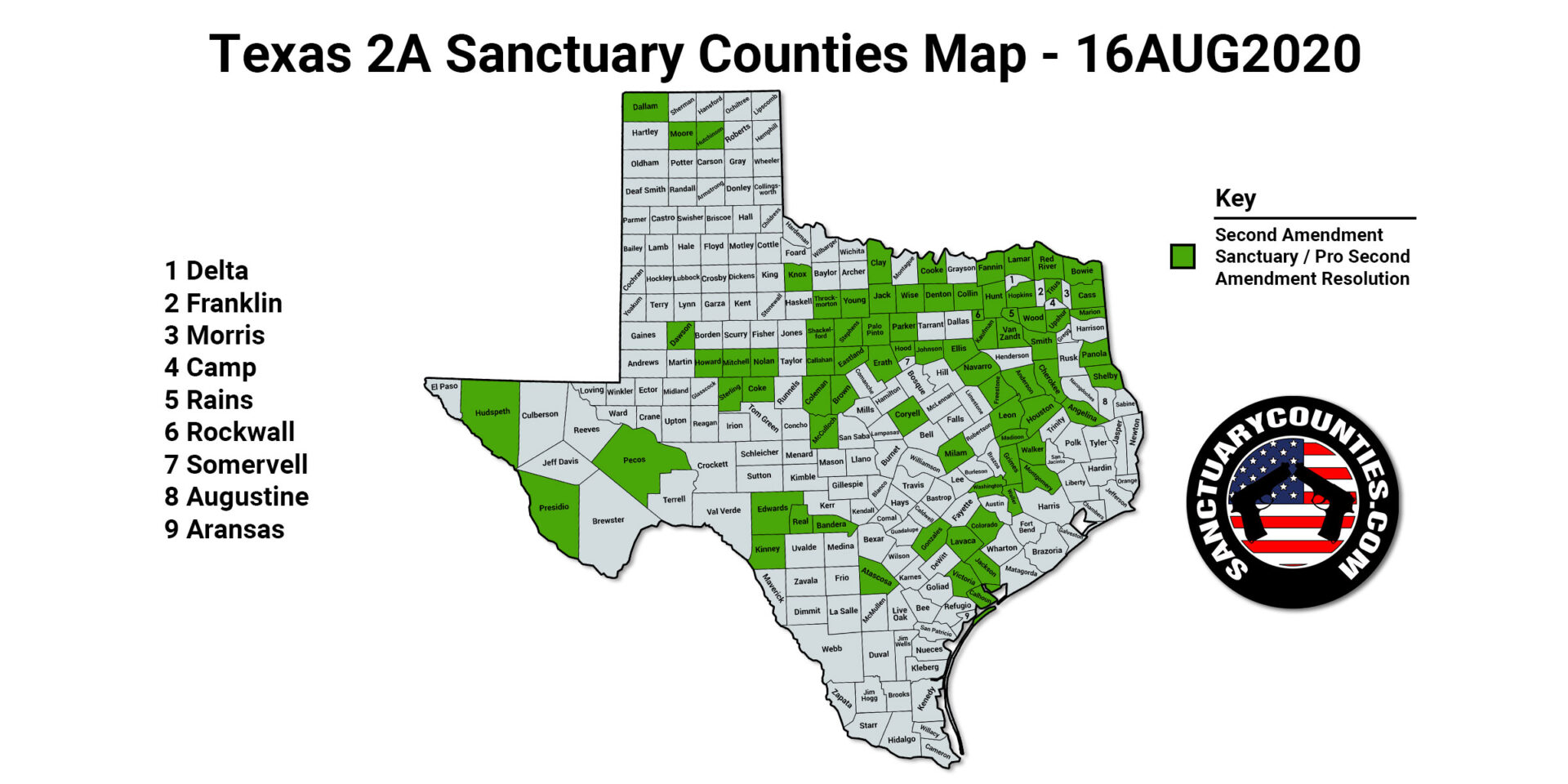 Texas 2A Sanctuary Counties Map