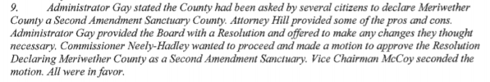 Applicable notes from the Meriwether County board meeting minutes for February 12, 2020.