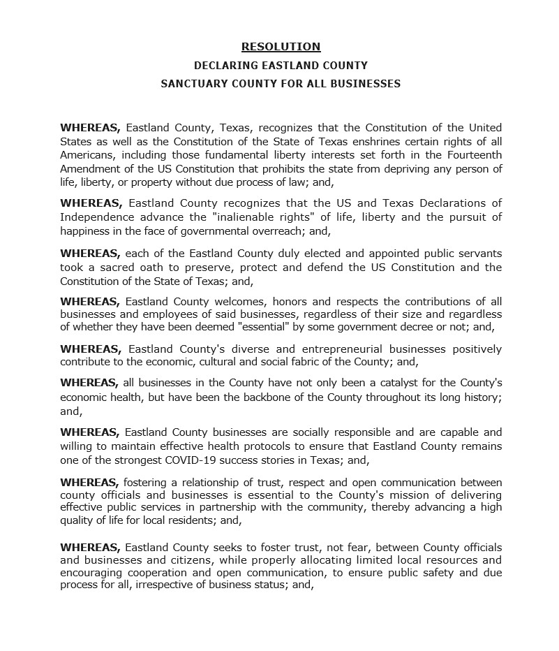 Eastland County Texas Resolution Declaring Eastland County a Sanctuary County for All Businesses.