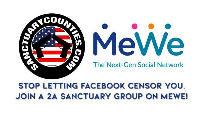 Picture showing Sanctuary Counties and MeWe logos and stating that people shouldn't let Facebook Censor them and that they should join 2A Sanctuary groups on MeWe.