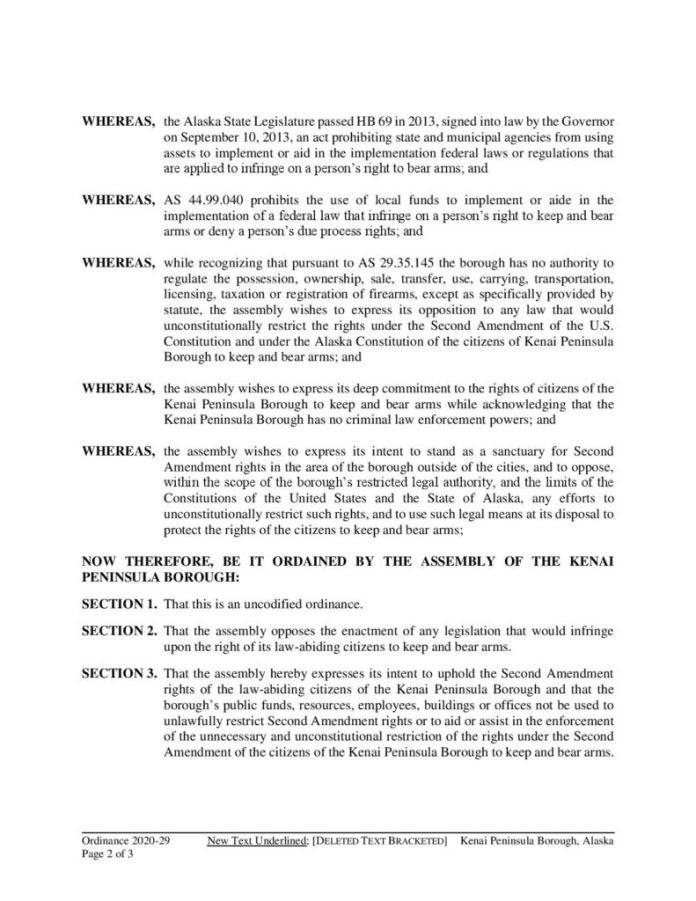 Kenai Peninsula Borough Second Amendment Sanctuary Ordinance 2020-29 page 2