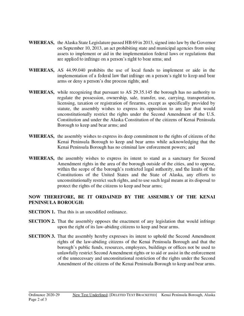Kenai Peninsula Borough Second Amendment Sanctuary Ordinance 2020-29 page 2