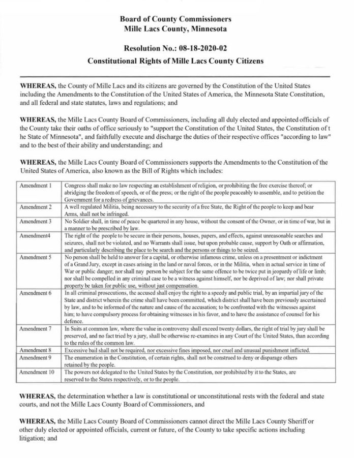 Mille Lacs County Minnesota - Resolution No. 08-18-2020-01 Second Amendment Page 1
