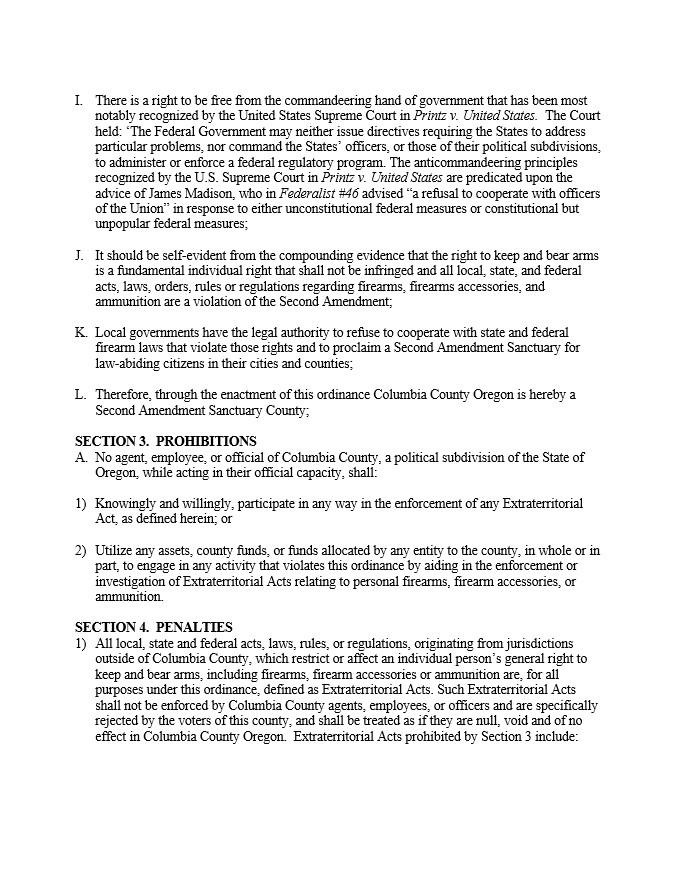 Columbia County Second Amendment Sanctuary Ordinance Page 2