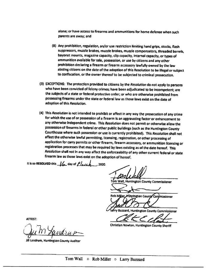 Huntington County Indiana Second Amendment Sanctuary Resolution pg 3
