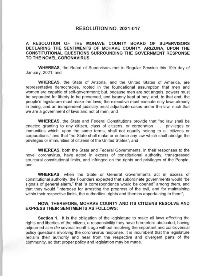 A RESOLUTION OF THE MOHAVE COUNTY BOARD OF SUPERVISORS DECLARING THE SENTIMENTS OF MOHAVE COUNTY, ARIZONA, UPON THE CONSTITUTIONAL QUESTIONS SURROUNDING THE GOVERNMENT RESPONSE TO THE NOVEL CORONAVIRUS page 1