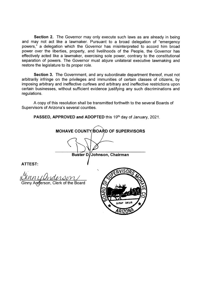 A RESOLUTION OF THE MOHAVE COUNTY BOARD OF SUPERVISORS DECLARING THE SENTIMENTS OF MOHAVE COUNTY, ARIZONA, UPON THE CONSTITUTIONAL QUESTIONS SURROUNDING THE GOVERNMENT RESPONSE TO THE NOVEL CORONAVIRUS page 2