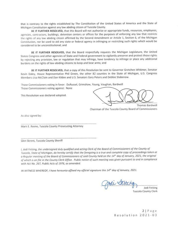 Tuscola County Constitutional Second Amendment Sanctuary Resolution pg 2