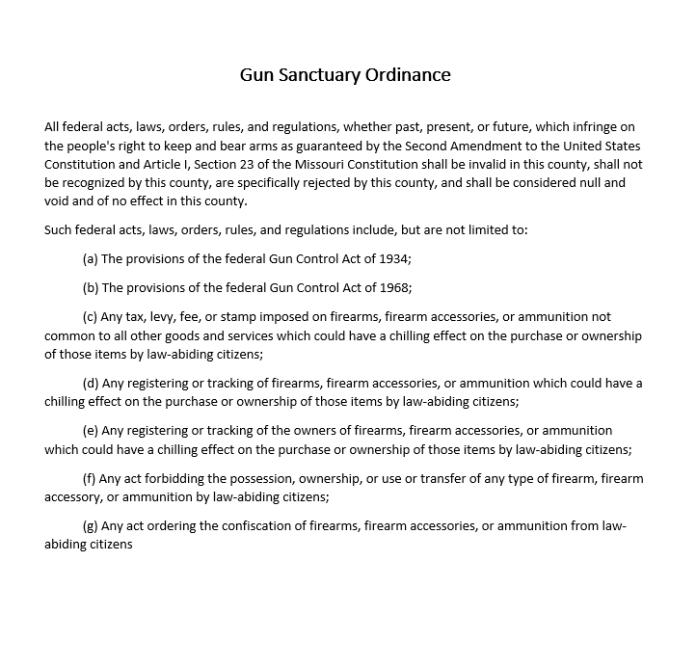 Gun Sanctuary Ordinance for Camden County, Missouri