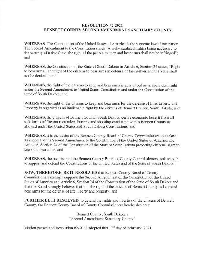 Bennett County South Dakota Sanctuary Resolution page 1