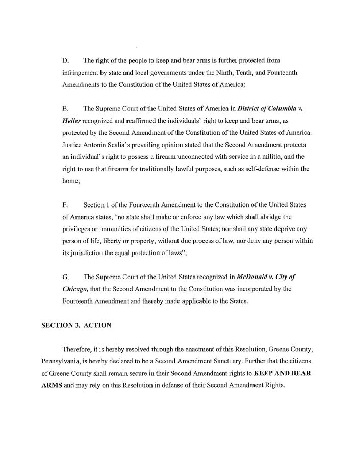 Greene County PA Second Amendment Sanctuary pg2