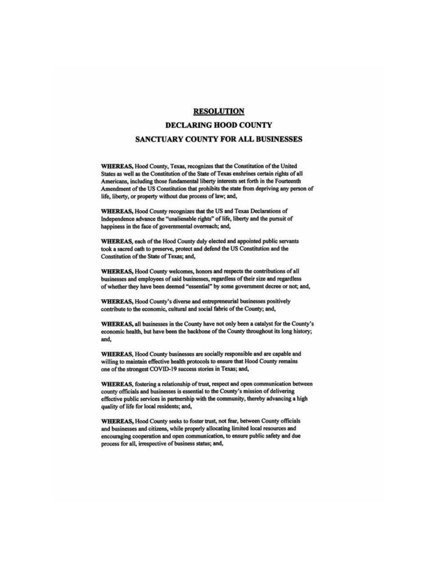 Hood County Texas Business Sanctuary Resolution pg-1