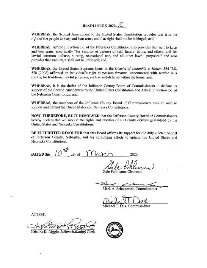2nd Amendment Resolution -Jeffeson County Nebraska Page 1