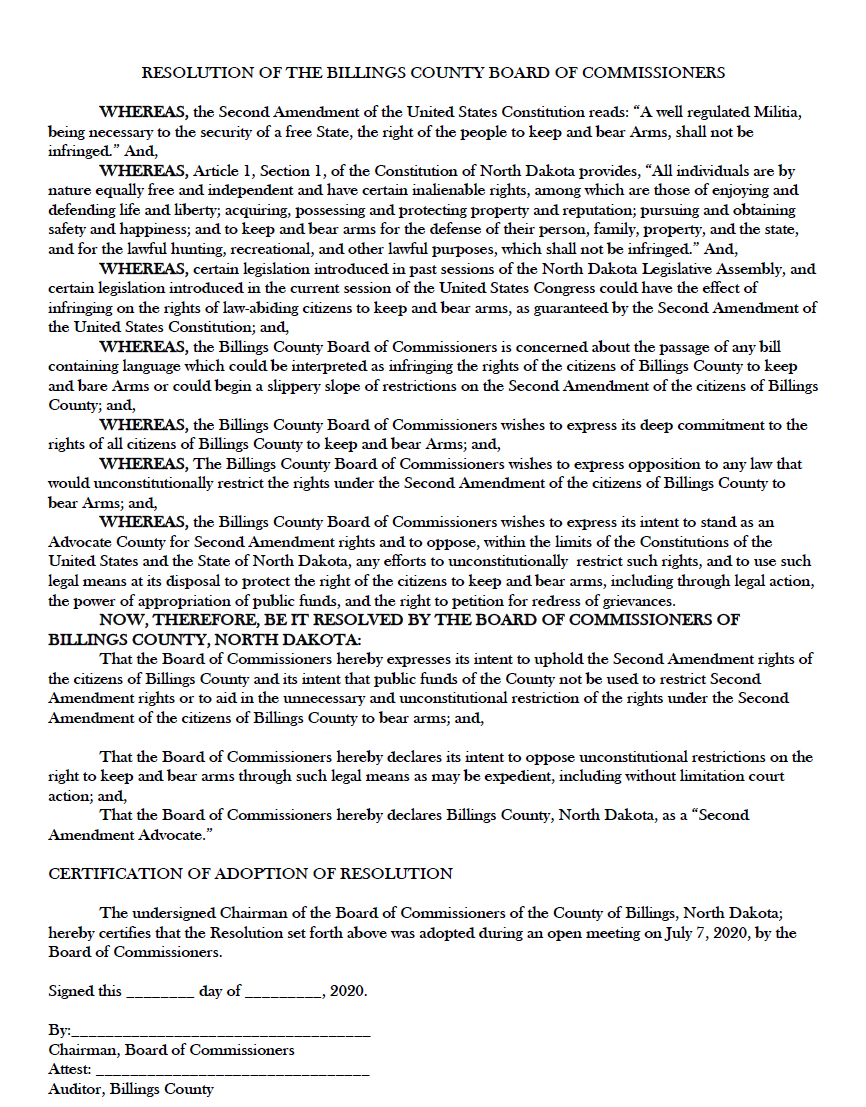 Billings County North Dakota Second Amendment Sanctuary Resolution