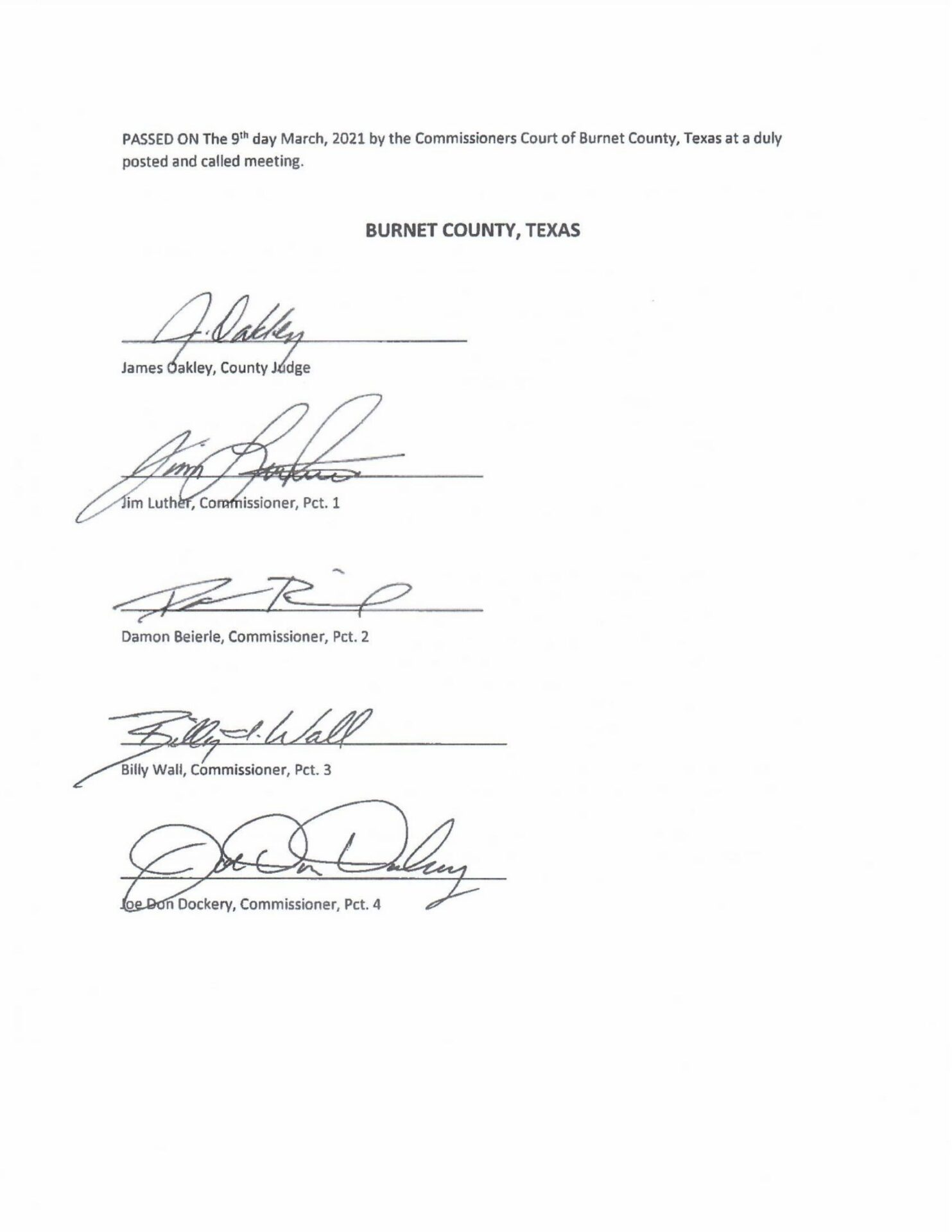 Burnet County Texas 2A Support Resolution PG-4