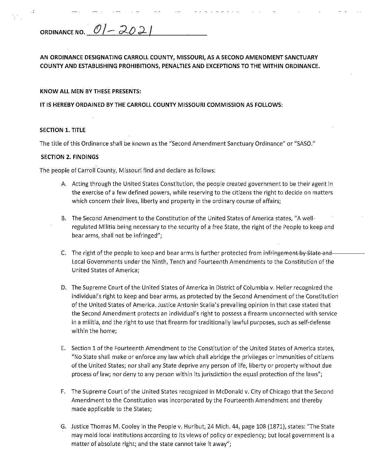 Carroll County Missouri Second Amendment Sanctuary Ordinance Page 1