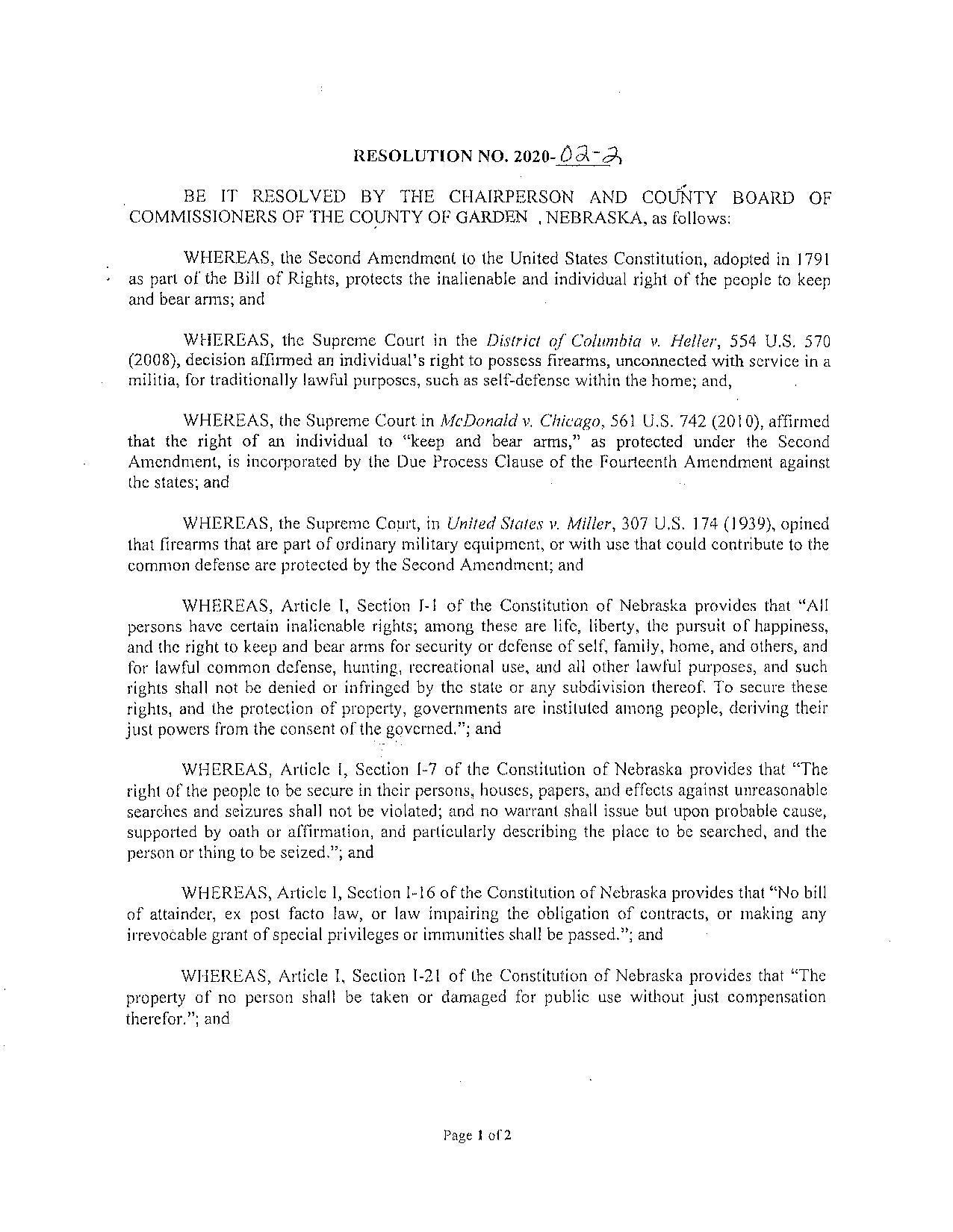 Garden County Nebraska Resolution page 1